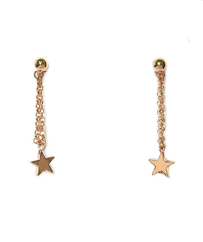 Star chain drop earings - gold