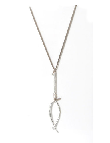 Long corded necklace - grey