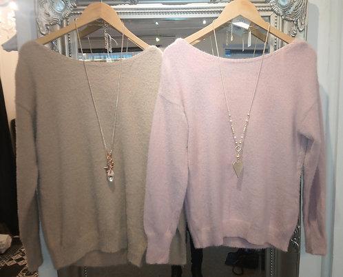 Bow back jumper - Pink or beige