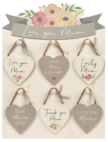 Mum heart hangers - choice of messages