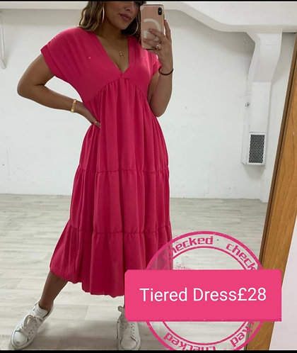 Tiered Dress - Hot Pink