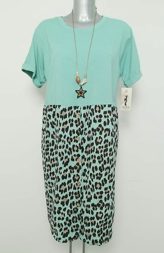Animal button front dress