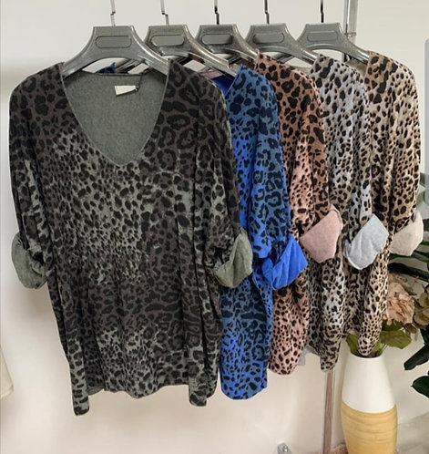 Animal print knit top - choice of colours