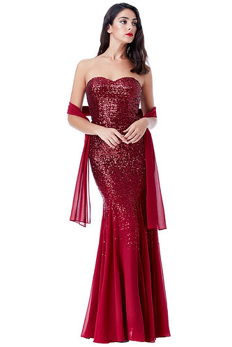 Bandeau Sequin Maxi - Wine Red