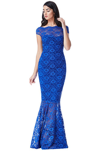 Lace Bardot Maxi Dress - Colbolt Blue