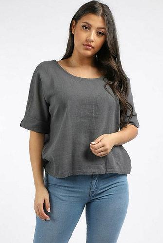 Plain linen short top - Choice of colours