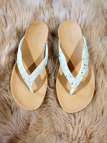 White Sparkle Flip Flop