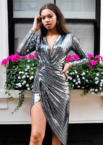 Mirror Wrap Dress -Silver