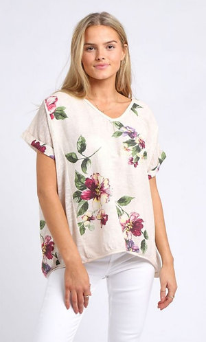 Floral linen top - Choice of colours