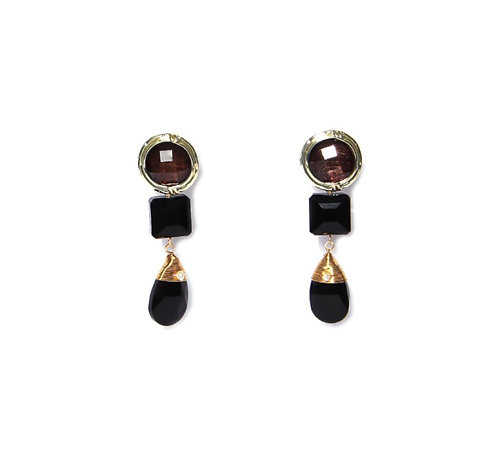 Envy gem and gold drop earings