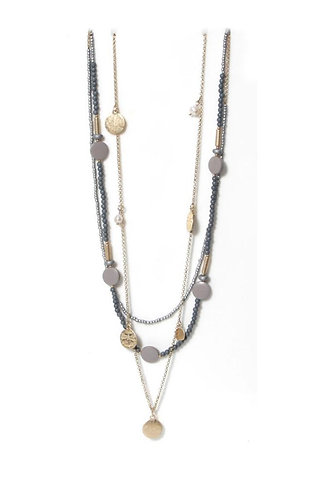 Envy tripple layer necklace - grey/gold