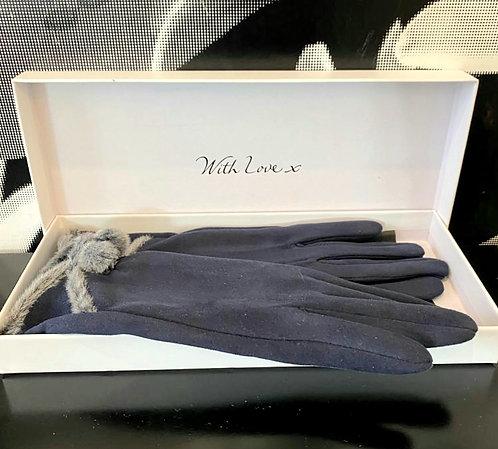 Envy pom pom Gloves - Gift Boxed - Navy