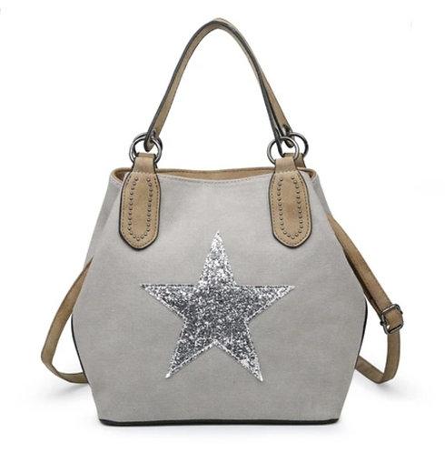 Medium star bag- Light Grey / silver star