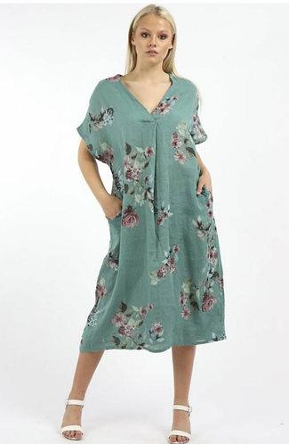 Floral v neck linen dress - Choice of colours