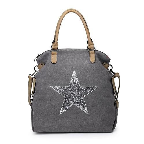 Large Glitter Star Bag - Dark Grey /Silver Star