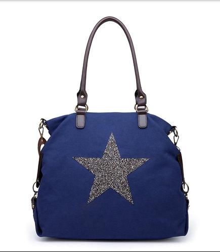 Crystal encrusted Star Bag - Large - navy