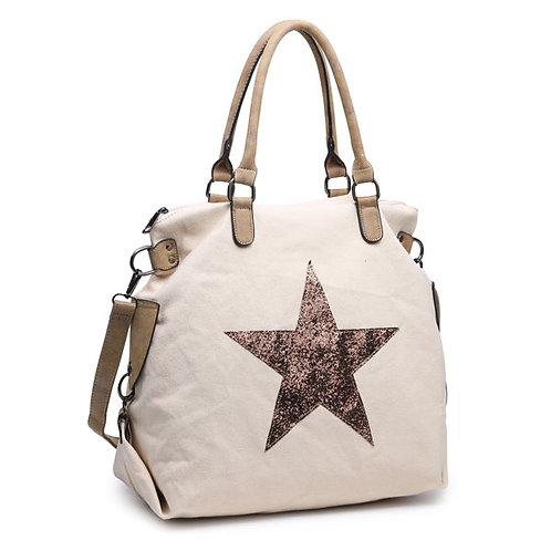 Large Glitter Star Bag -Beige