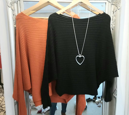 Ribbed batwing jumper- black or rust