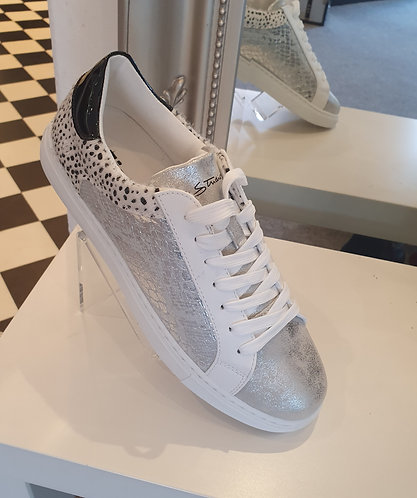 Silver/ animal lace ups