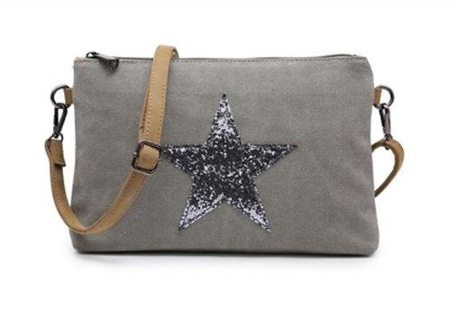 Star Clutch Bag - Grey / Silver star