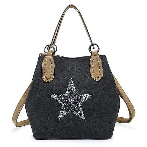 Medium star bag- charcoal black/ silver star