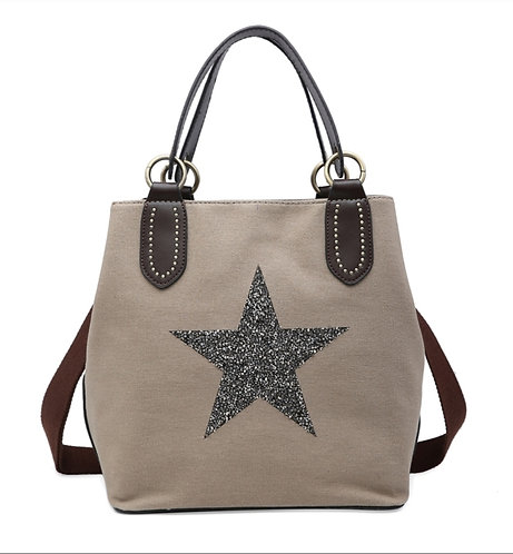 Crystal encrusted medium star bag - taupe