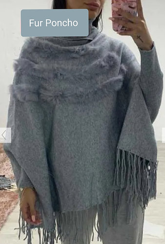 Fur poncho jumper - choice of colours