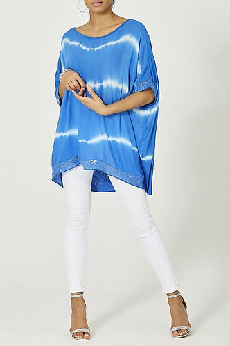 Tie Dye Sequin Oversized Top - Royal Blue