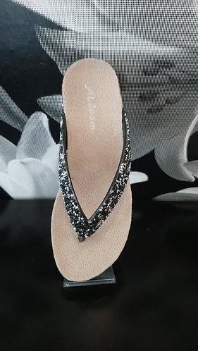 Black Sparkle Flip Flop - chunky glitter