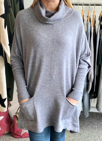 Oversized roll neck box jumper - choice of colours