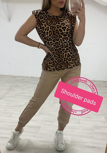 Shoulder padded animal print top - Choice of colours