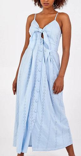 Broidrey Midi Dress - Blue
