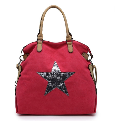 Glitter Star Bag - Red / silver star