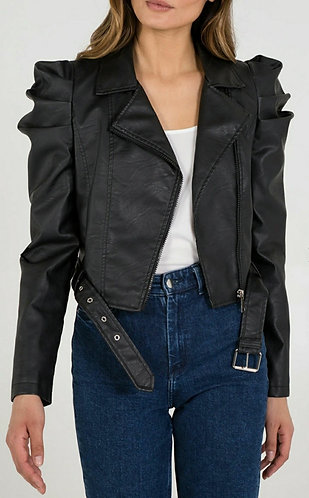 Puff sleeve faux leather biker jacket