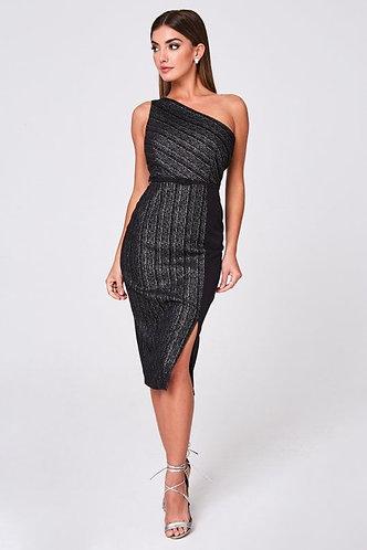 Black Metallic Stripe, One-Shoulder Midi Dress
