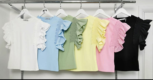 Frill arm top - Choice of colours
