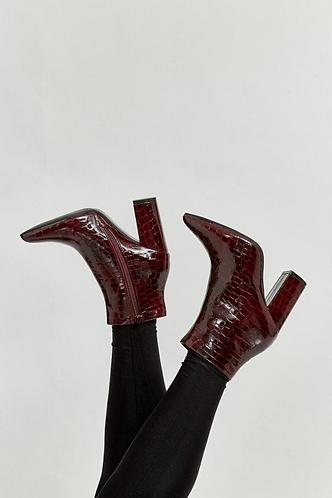 Mock Croc heeled Chelsea Boots - Burgundy