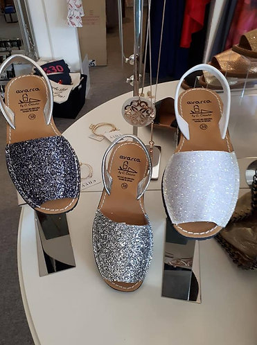 Glitter Menorcan Sandals - Lead Grey Glitter