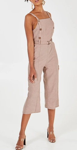 Button front belted jumpsuit