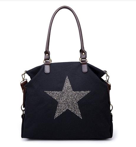 Crystal encrusted Star Bag - Large - black