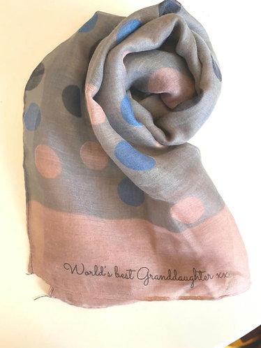 Worlds Best Granddaughter scarf -  spots