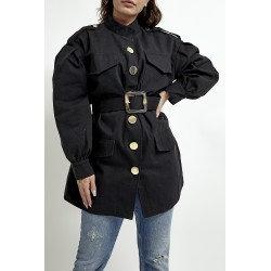 Belted Utility Jacket - Black