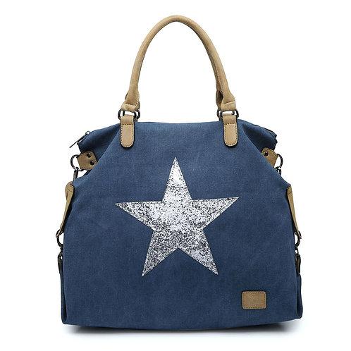 Large Glitter Star Bag - Navy/Silver Star