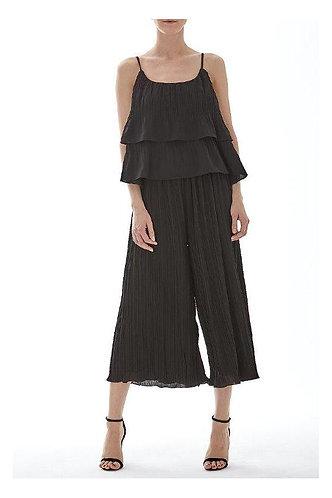 Pleated Culotte Set -Black