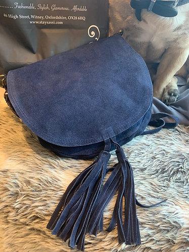 Suede tassle messenger bag - navy