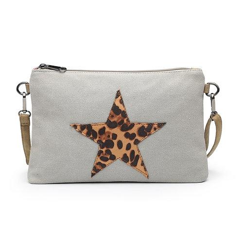 Leopard Star Clutch - Light Grey