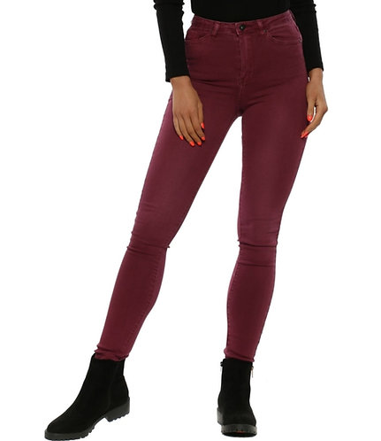 Super Stretch High Waisted Jeans - wine red