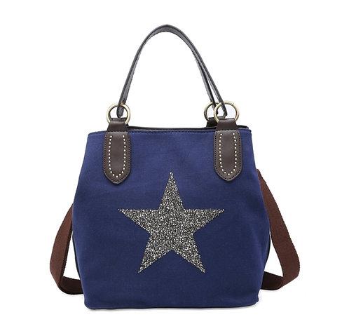 Crystal encrusted medium star bag - navy