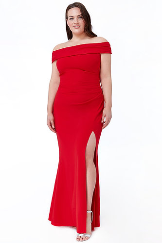 Bardot red ball gown with side split
