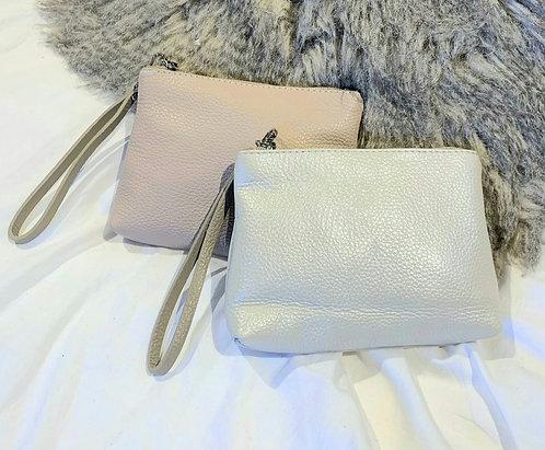 Leather wrist bag/ purse - dusky pink or metallic beige